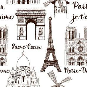Paris sightseeing pattern. Eiffel tower, Arc de Triomphe, Basilica France. hand drawn sketch