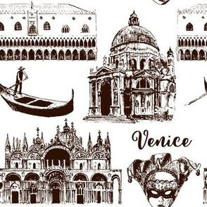 Venice architectural symbols seamless pattern vector set: Carnival mask, palazzo, basilica, San Marco, gondola. sketch