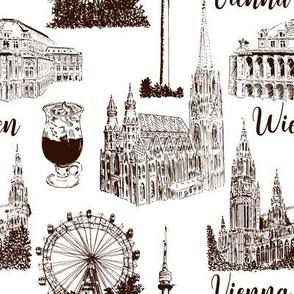 Set of Vienna symbols seamless pattern vector set. Donauturm, Stephansdom, Rathaus, Prater, Vienna State Opera House.