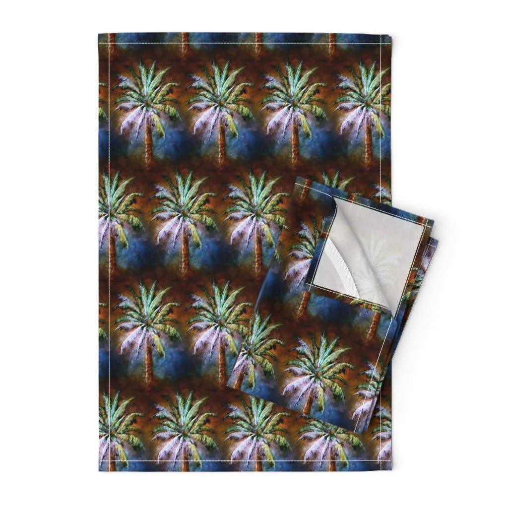 WATERCOLOR PALM TREE ALTERNATED ROWS BLUE on Orpington by ...