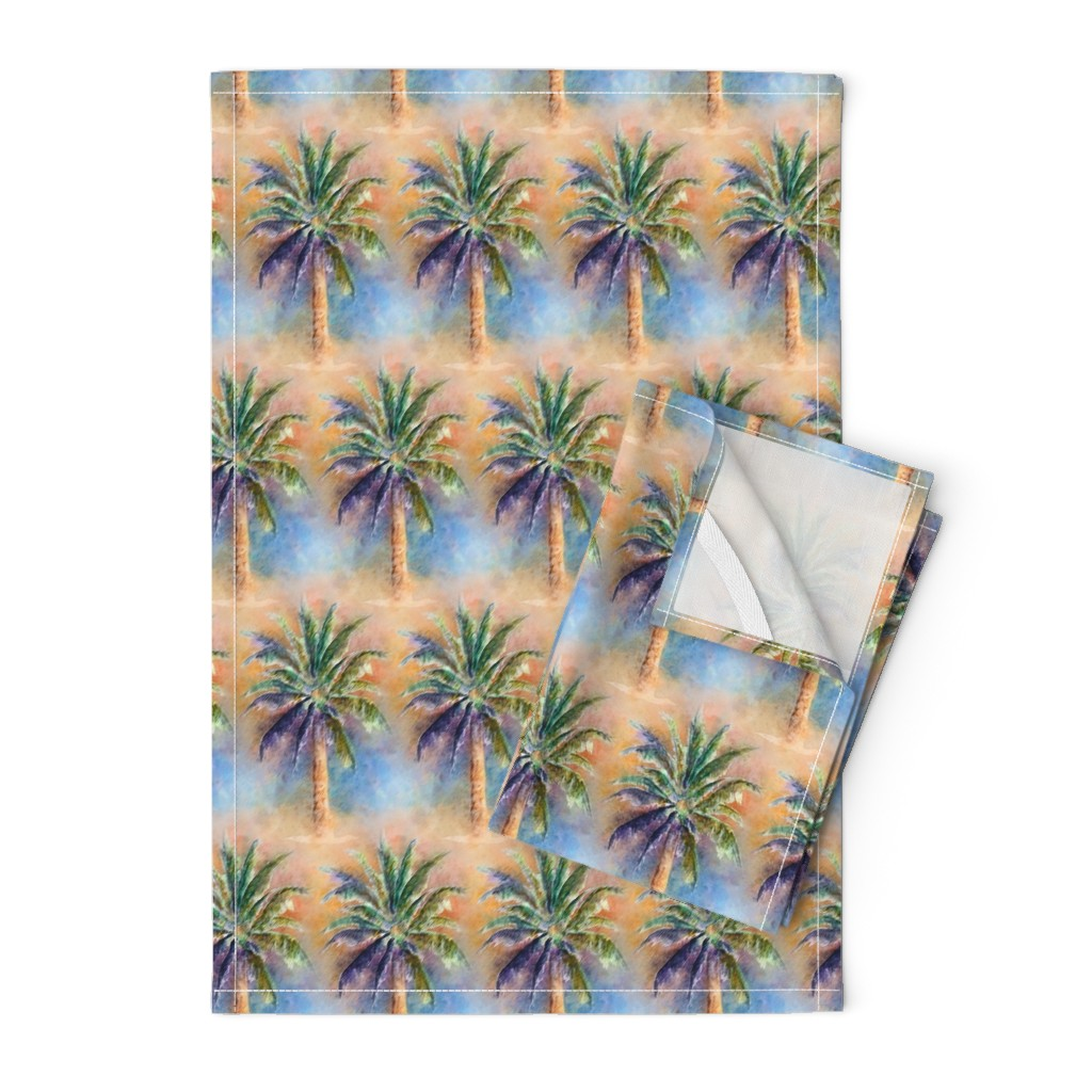 Orpington Tea Towels featuring WATERCOLOR PALM TREE ALTERNATED ROWS NATURAL by paysmage
