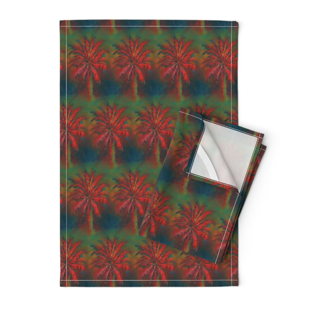 Orpington Tea Towels featuring WATERCOLOR PALM TREE ALTERNATED ROWS STRIPED RED GREEN by paysmage