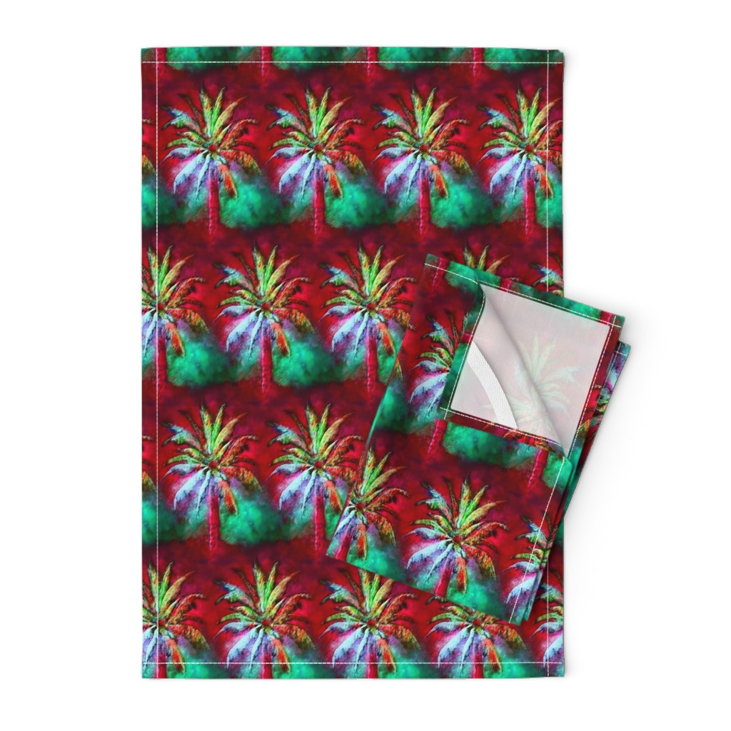 Orpington Tea Towels featuring WATERCOLOR PALM TREE ALTERNATED ROWS  RASPBERRY RED MINT GREEN by paysmage