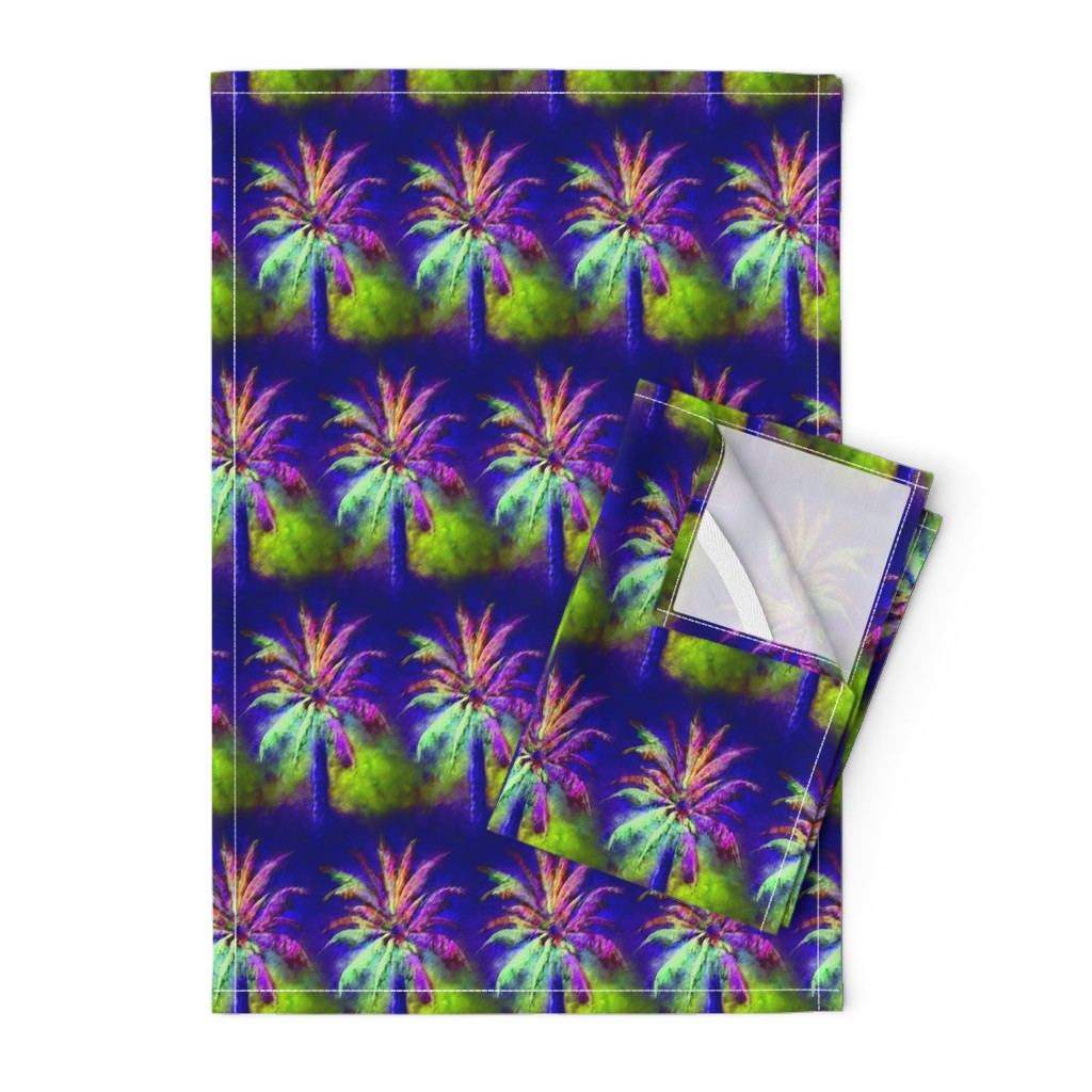 Orpington Tea Towels featuring WATERCOLOR PALM TREE ALTERNATED ROWS VIOLET PURPLE GREEN by paysmage