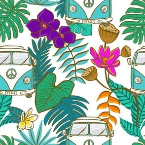 Tropical Kombi - Aqua and White