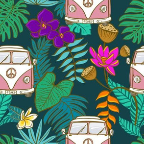 Pink Tropical Kombi - Teal