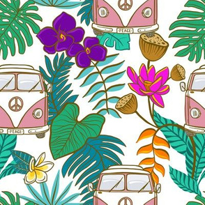 Pink Tropical Kombi - White