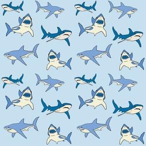 sharks in blue
