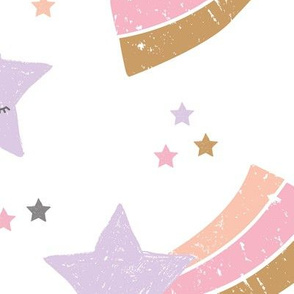 Kawaii magic rainbow love sweet dreams shooting stars make a wish pink lilac pastels girls jumbo