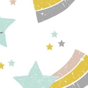 Kawaii magic love sweet dreams shooting stars make a wish mint yellow boys jumbo