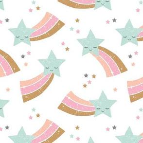 Kawaii magic rainbow love sweet dreams shooting stars make a wish mint pink girls