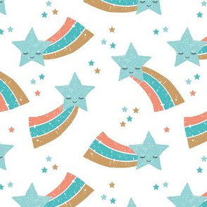 Kawaii magic rainbow love sweet dreams shooting stars make a wish blue coral boys