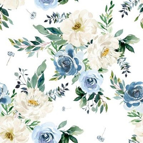 """8"""" White and Blue Florals - White"""