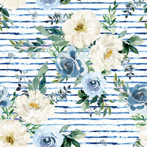 "18"" White and Blue Florals - Blue Stripes"