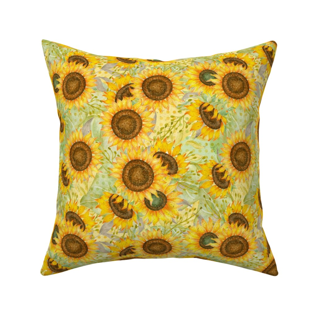 Catalan Throw Pillow featuring Sunflowers by malibu_creative