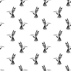 Geometric hummingbirds black & white