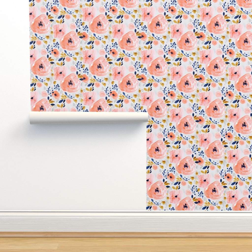 Isobar Durable Wallpaper featuring genevieve floral-gray by crystal_walen