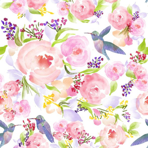 Large Watercolor flowers and hummingbird