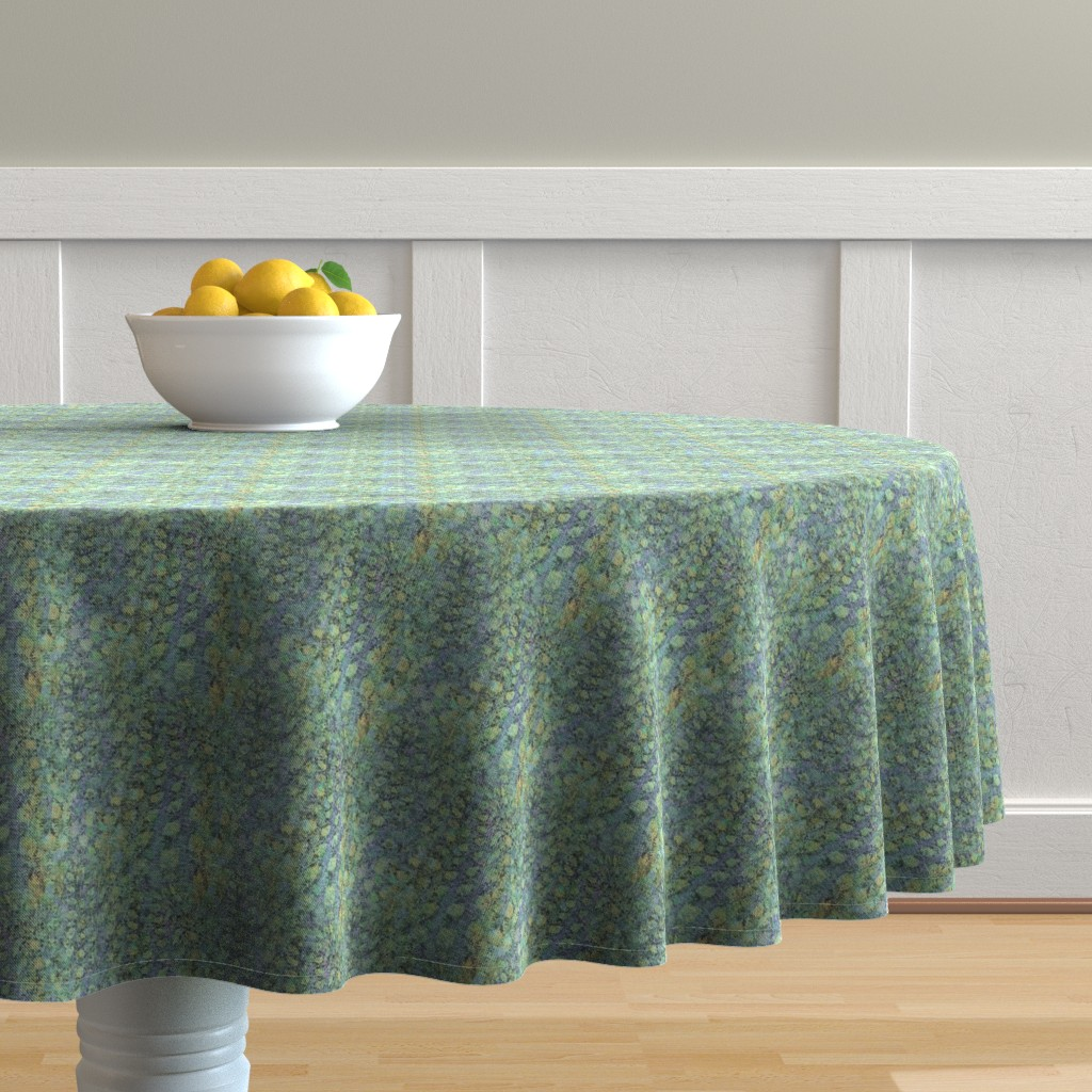 Malay Round Tablecloth featuring field-aqua-yellow-lite by wren_leyland