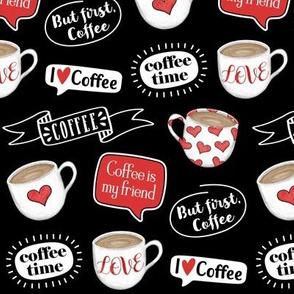 Sketched Coffee Mug - I Love Coffee Hearts - Red Black White