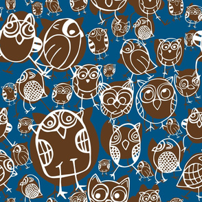 OWLS, WHITE, BLUE, BROWN