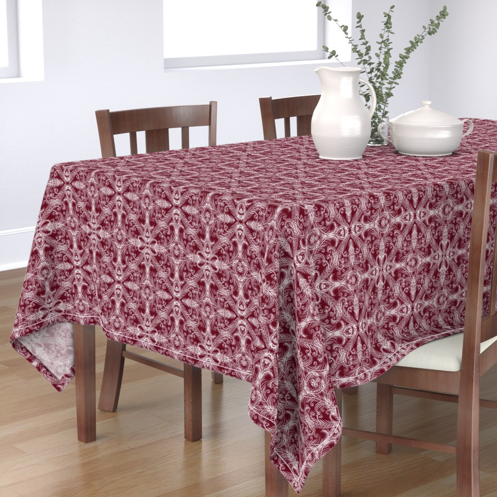 Bantam Rectangular Tablecloth featuring White Frost Medallions for Elegant Holiday (berry red) by helenpdesigns
