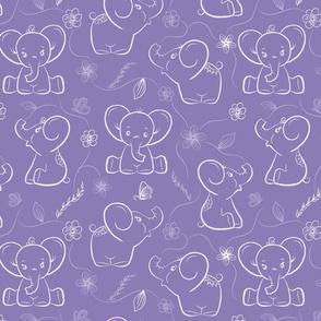 Elephants on Lavender background
