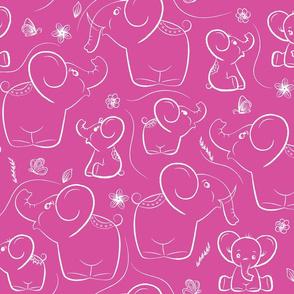 Elephants on Pink background