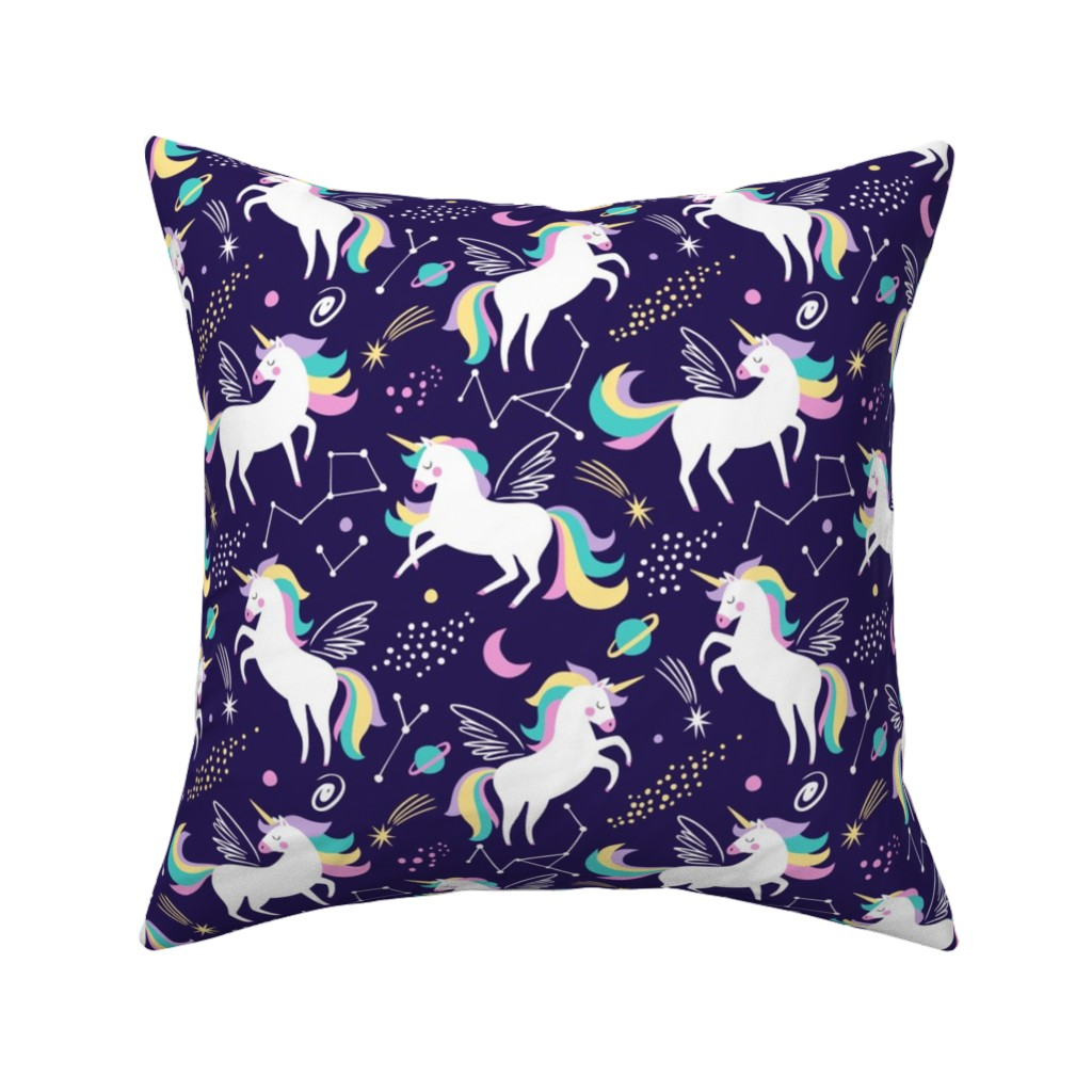 Catalan Throw Pillow featuring Space unicorns - navy by mirabelleprint