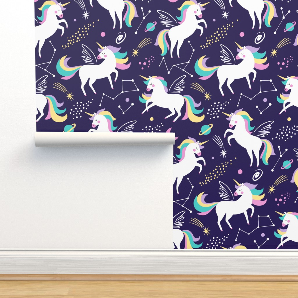 Isobar Durable Wallpaper featuring Space unicorns - navy by mirabelleprint