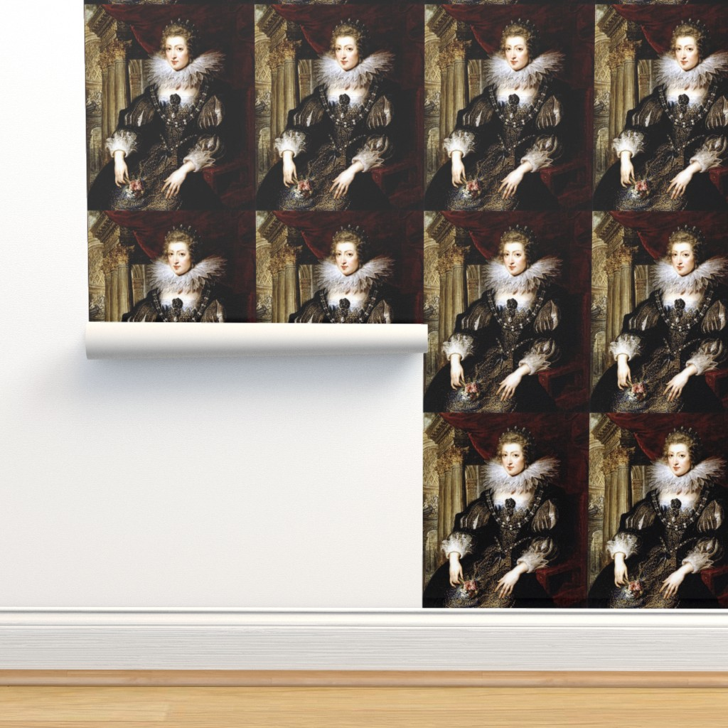 Isobar Durable Wallpaper featuring Queen Elizabeth 1 inspired princesses Queens renaissance tudor big lace ruff collar baroque pearls black gold gown beauty castles palaces throne elizabethan era 16th century 17th century historical embroidery ornate royal portraits beautiful woman lady ne by raveneve