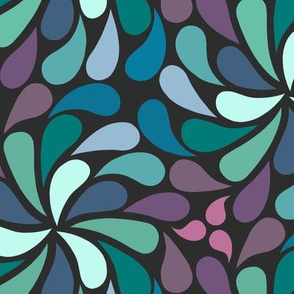 In a spin 70s navy purple green