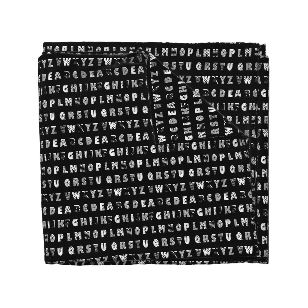 Wyandotte Duvet Cover featuring Alphabet pattern black by bruxamagica