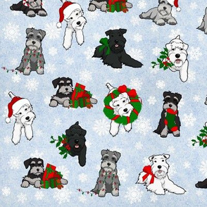 Christmas Schnauzers and Snowflakes Large