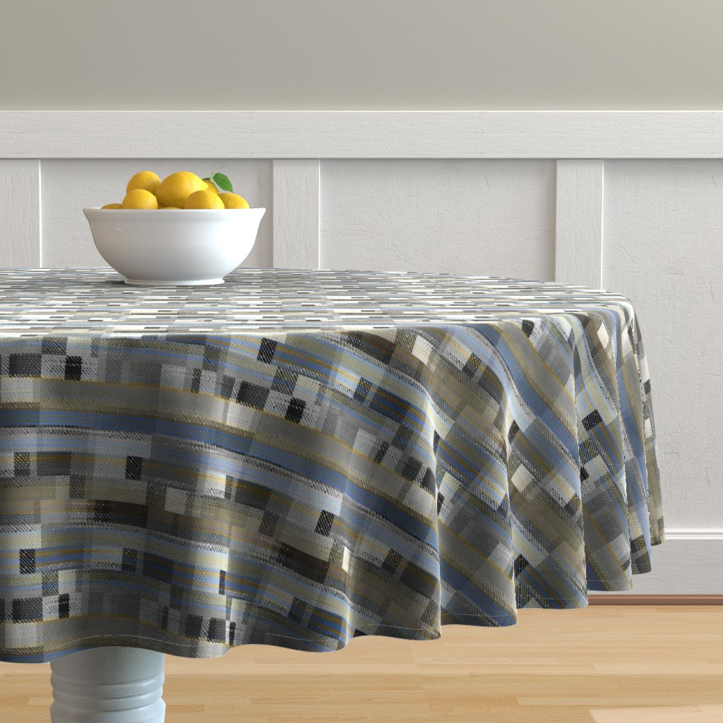 Malay Round Tablecloth featuring Aged linen Gauze Blocks by joanmclemore