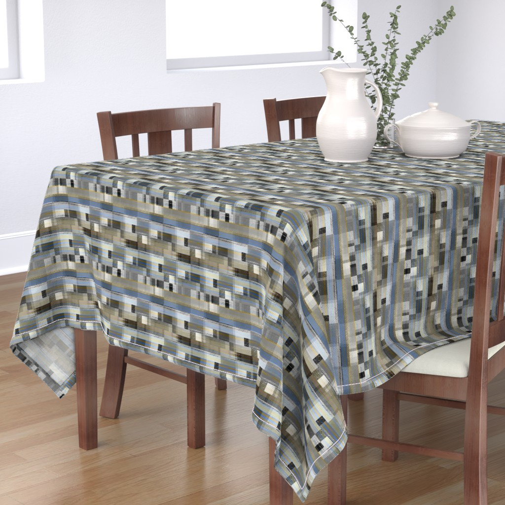 Bantam Rectangular Tablecloth featuring Aged linen Gauze Blocks by joanmclemore