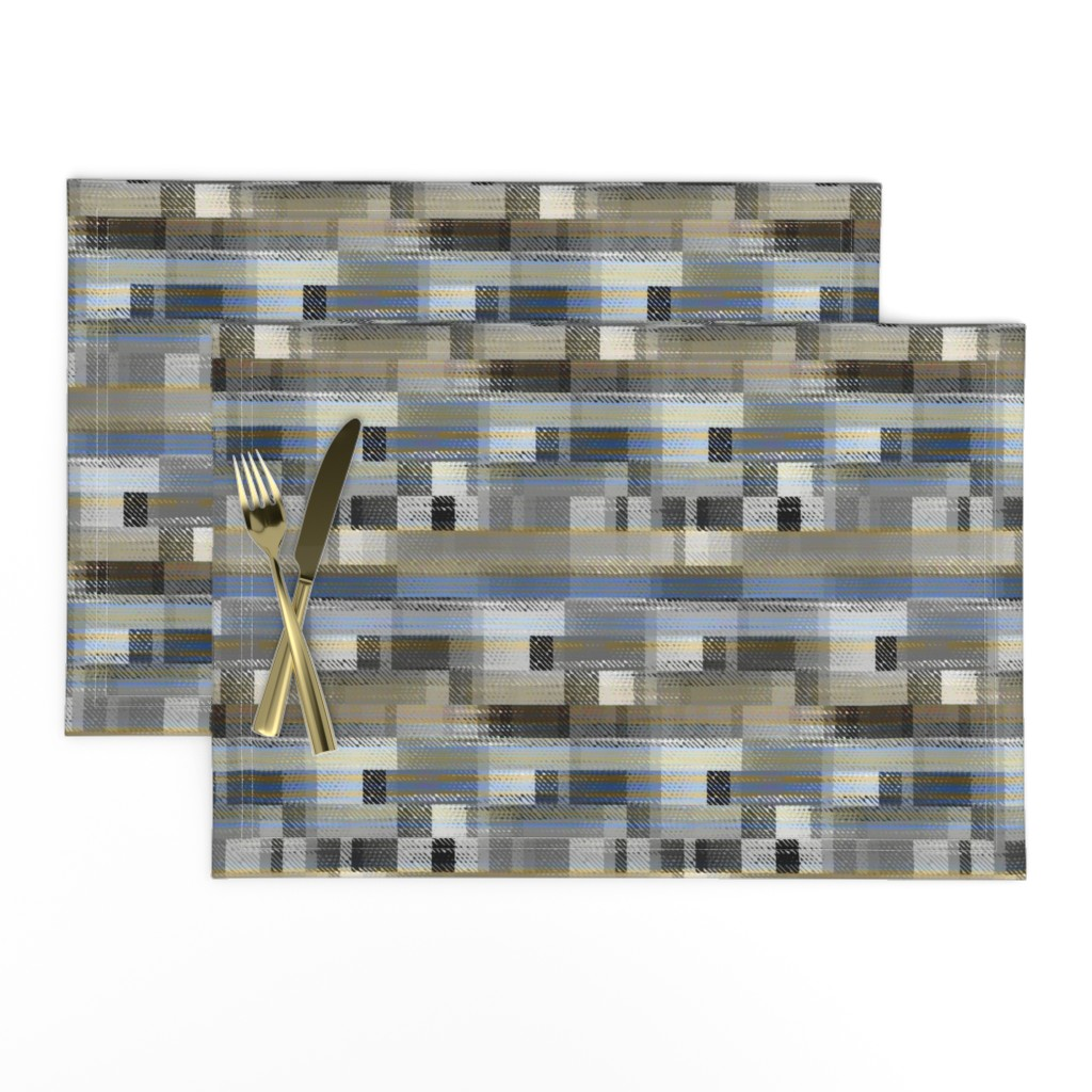 Lamona Cloth Placemats featuring Aged linen Gauze Blocks by joanmclemore