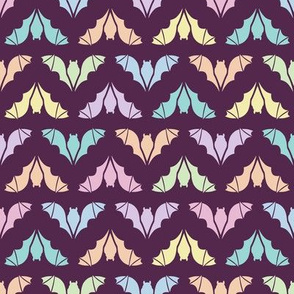 Colorful Flying Bats on Plum