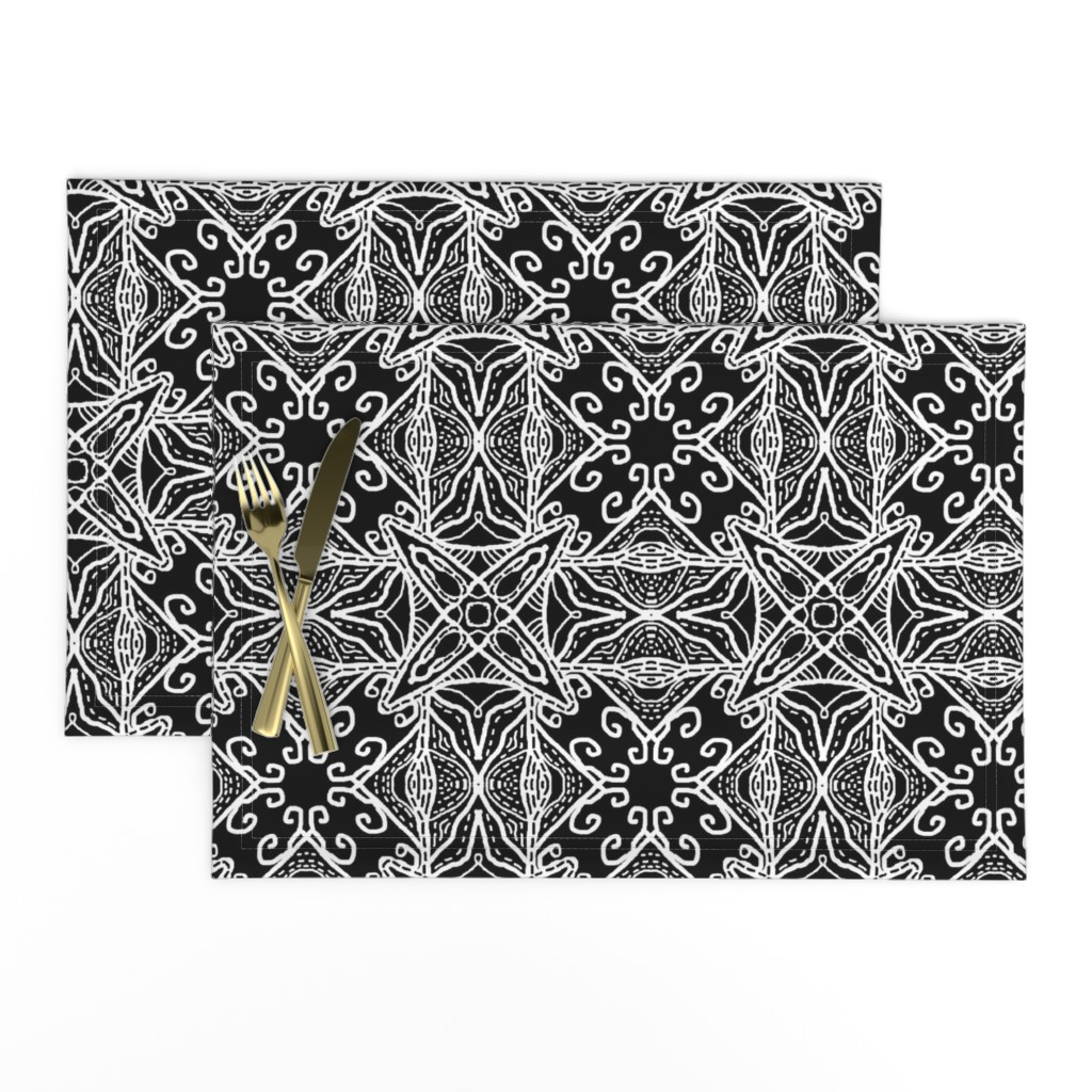 Lamona Cloth Placemats featuring Watercolor Lace Energy, Black, Medium by palifino