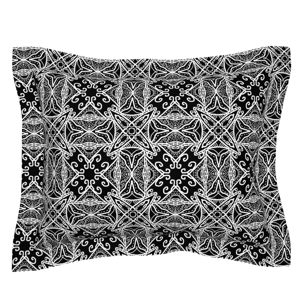 Sebright Pillow Sham featuring Watercolor Lace Energy, Black, Medium by palifino