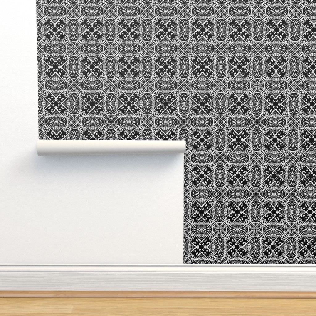 Isobar Durable Wallpaper featuring Watercolor Lace Energy, Black, Medium by palifino