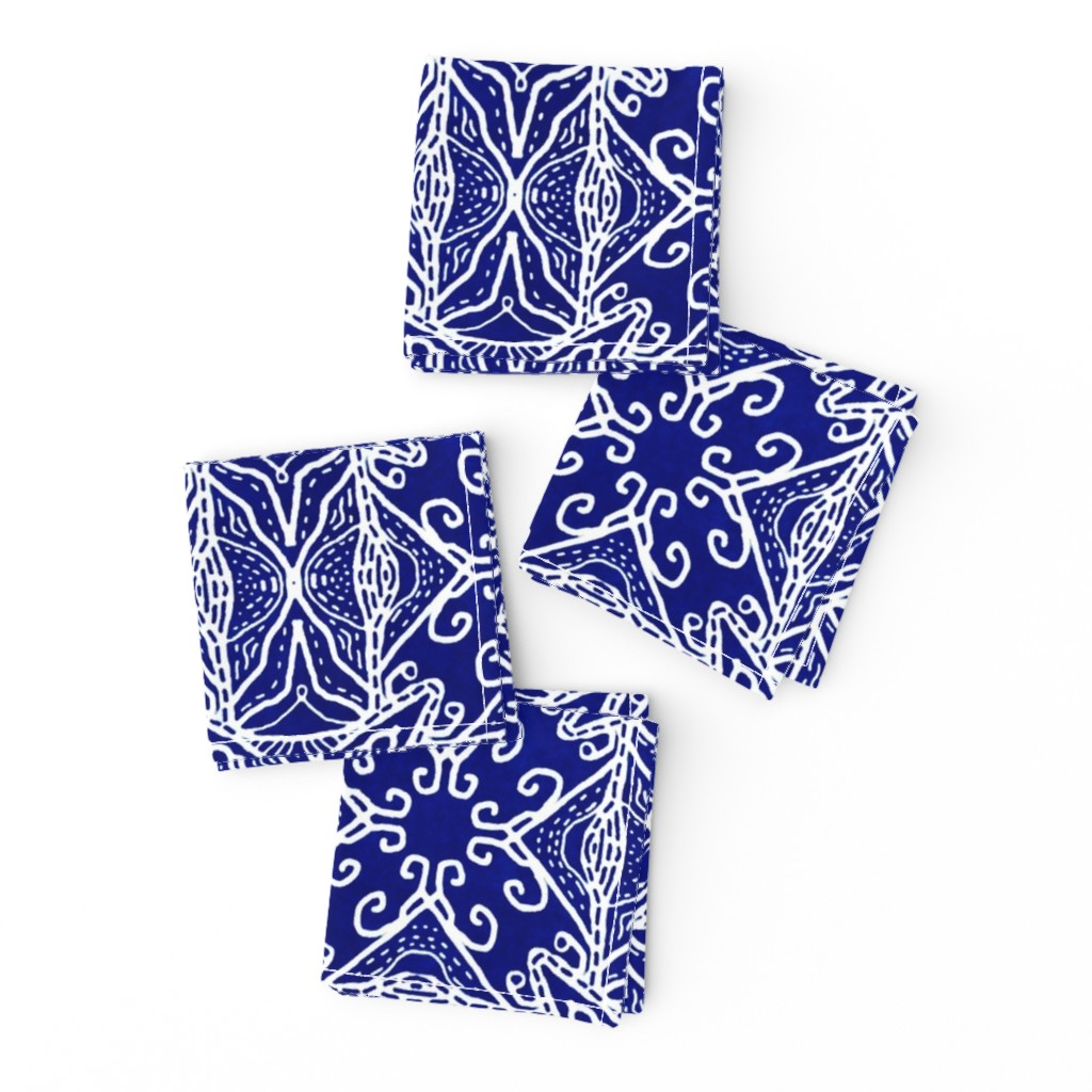 Frizzle Cocktail Napkins featuring Watercolor Lace Energy, Indigo, Medium by palifino