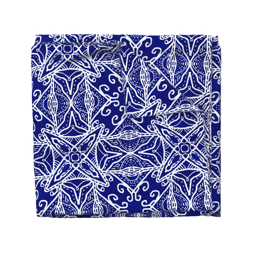Wyandotte Duvet Cover featuring Watercolor Lace Energy, Indigo, XL by palifino