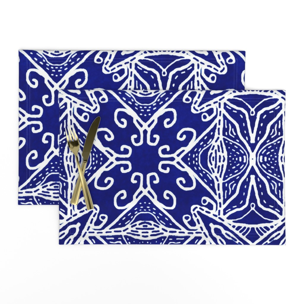 Lamona Cloth Placemats featuring Watercolor Lace Energy, Indigo, XL by palifino