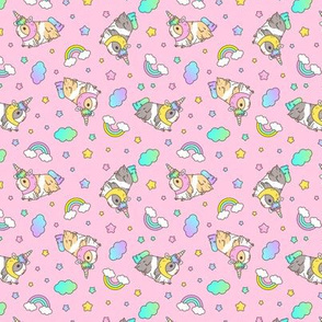 Kawaii Silkie Guinea pig Unicorn Pattern in Pink