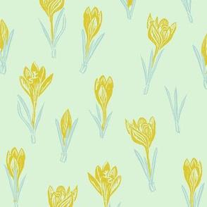 gold crocuses on mint