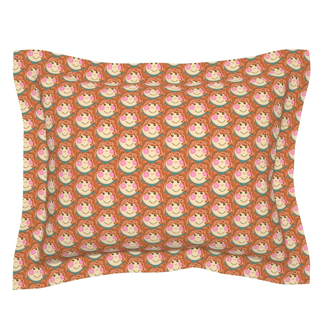 Sebright Pillow Sham featuring Silly Sally Sue / doll patch  by franbail