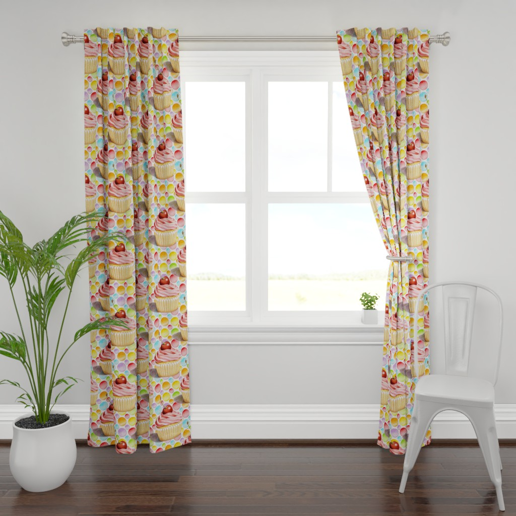 Plymouth Curtain Panel featuring Pink Cupcake Polka Dots by patriciasheadesigns