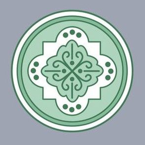 Moroccan pottery medallions green single 6in