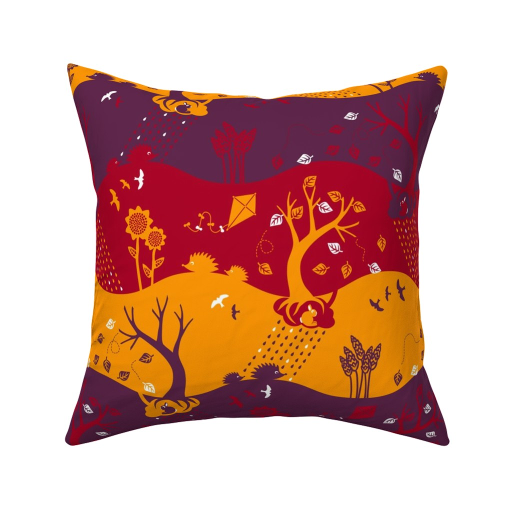 Catalan Throw Pillow featuring Autumn Silhouettes (please zoom for details) by annosch